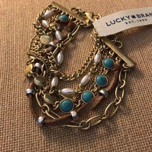 NEW multi strand turquoise/pearl bracelet